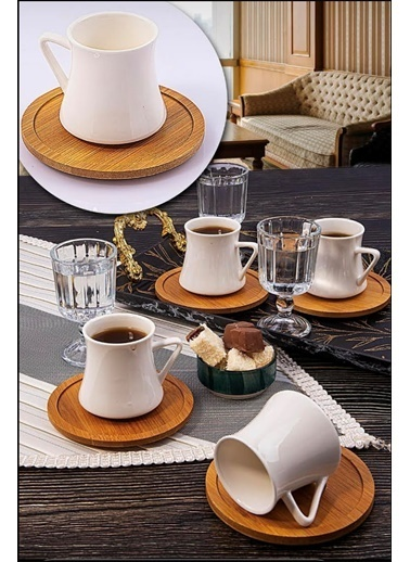 Kitchen Love 18 Parça Set-Bambu Tabaklı Porselen Kahve Fincan Ve Ayaklı Kahve Yanı Cam Bardak Renkli